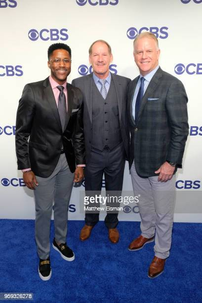 Nate Burleson Bill Cowher and Boomer Esiason attend the 2018 CBS Upfront at The Plaza Hotel on May 16 2018 in New York City