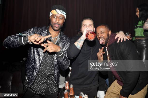 Nate Burleson Jeff Lifter and Darnell Lyons attend TAO Group's Big Game Takeover presented by Tongue Groove on February 1 2019 in Atlanta Georgia