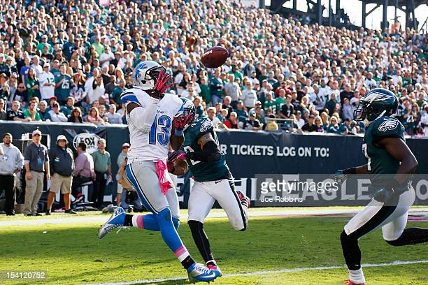 Nate Burleson of the Detroit Lions catches a 17yard touchdown pass in the fourth quarter against the Philadelphia Eagles at Lincoln Financial Field...