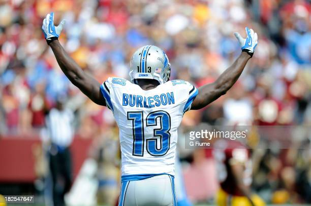 Nate Burleson of the Detroit Lions celebrates a Lion's touchdown against the Washington Redskins at FedExField on September 22 2013 in Landover...