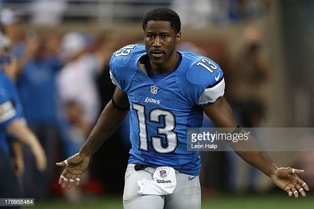Nate Burleson of the Detroit Lions enters the field during the pregame introductions prior to the start of the preseason game against the New York...