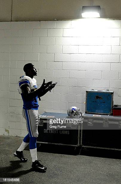 Nate Burleson of the Detroit Lions warms up before the game against the Washington Redskins at FedExField on September 22 2013 in Landover Maryland