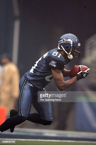 Nate Burleson of the Seattle Seahawks looks on during a game against the Baltimore Ravens on December 23 2007 at Qwest Field in Seattle Washington