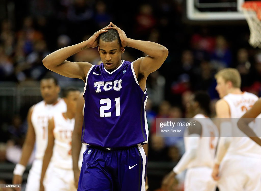 Nate Butler Lind #21 of the TCU Horned Frogs walks back upcourt after a foul during the first round of the 2013 Big 12 Men's Basketball Championship against the Texas Longhorns at Sprint Center on March 13, 2013 in Kansas City, Missouri.
