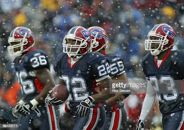Nate Clements of the Buffalo Bills stands on the field during the game with the New England Patriots on December 11 2005 at Ralph Wilson Stadium in...