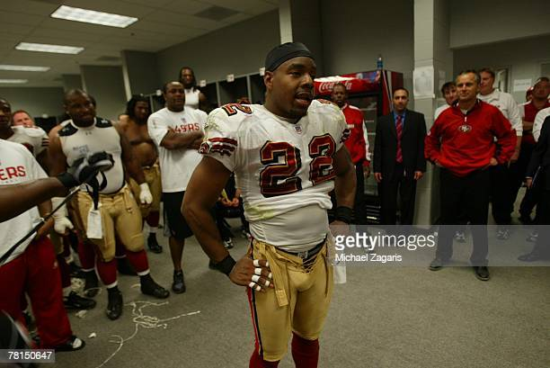 Nate Clements of the San Francisco 49ers addresses the team in the locker room after the NFL game against the Arizona Cardinals on November 25 2007...