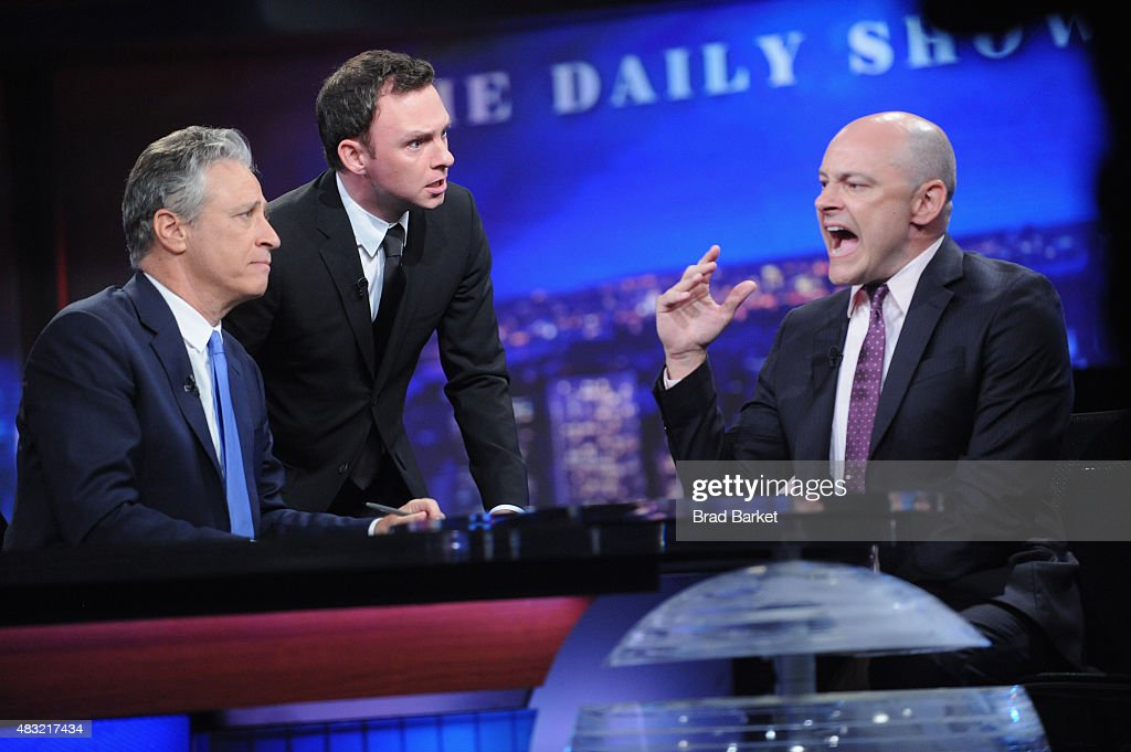 Nate Corddry (C) Rob Corddry (R) and host Jon Stewart (L) appear on 'The Daily Show with Jon Stewart' #JonVoyage on August 6, 2015 in New York City.