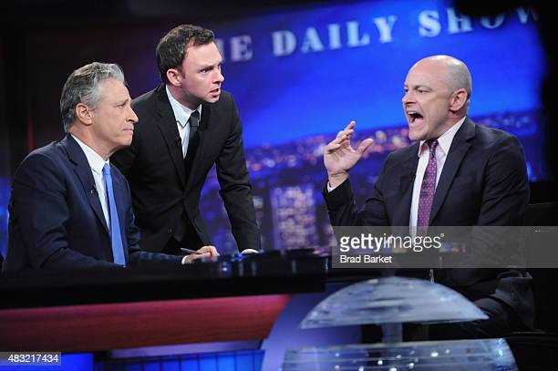 Nate Corddry Rob Corddry and host Jon Stewart appear on 'The Daily Show with Jon Stewart' #JonVoyage on August 6 2015 in New York City
