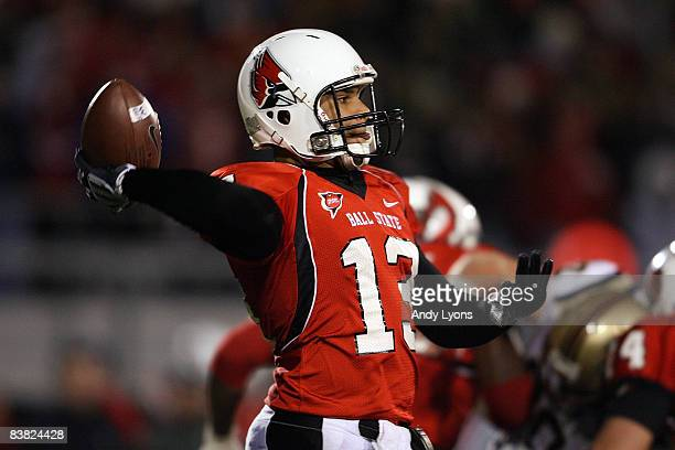 Nate Davis of the Ball State Cardinals throws a pass during the MidAmerican Conference game against the Western Michigan Broncos at Scheumann Stadium...