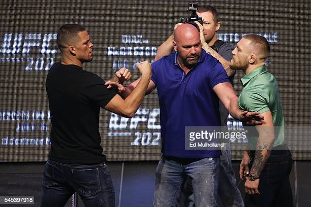 Nate Diaz and Conor McGregor face off at the UFC 202 press conference at the TMobile Arena on July 7 2016 in Las Vegas Nevada