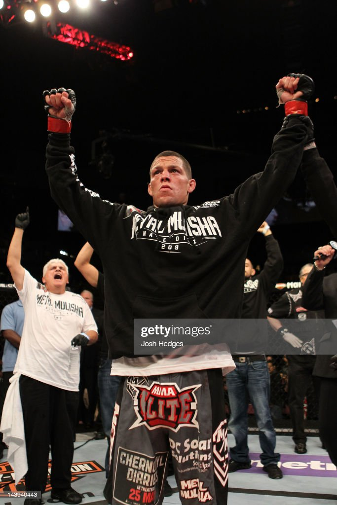 Nate Diaz celebrates after defeating Jim Miller in their Lightweight bout at Izod Center on May 5, 2012 in East Rutherford, New Jersey.