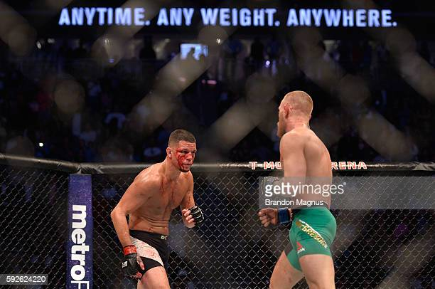 Nate Diaz circles Conor McGregor in their welterweight bout during the UFC 202 event at T-Mobile Arena on August 20, 2016 in Las Vegas, Nevada.