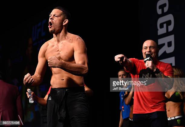 Nate Diaz interacts with the crowd during the UFC 202 weighin at the MGM Grand Marquee Ballroom on August 19 2016 in Las Vegas Nevada