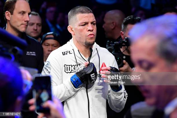 "Nate Diaz of the United States enters the ring for his fight against Jorge Masvidal of the United States in the Welterweight ""BMF"" championship bout..."
