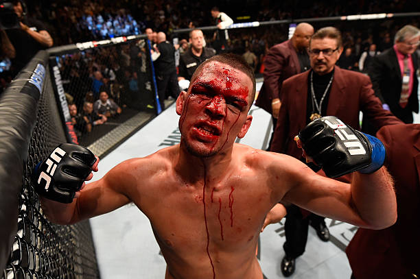 Nate Diaz reacts to his victory over Conor McGregor of Ireland in their welterweight bout during the UFC 196 event inside MGM Grand Garden Arena on...