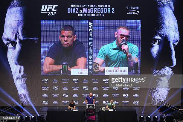 Nate Diaz UFC President Dana White and Conor McGregor answer questions at the UFC 202 press conference at the TMobile Arena on July 7 2016 in Las...