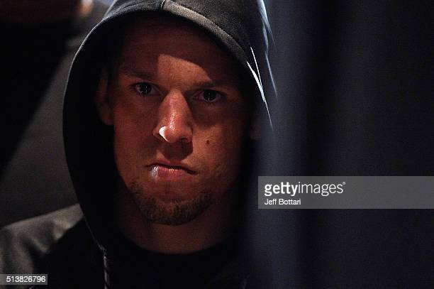 Nate Diaz waits backstage during the UFC 196 weigh-in at the MGM Grand Garden Arena on March 4, 2016 in Las Vegas, Nevada.
