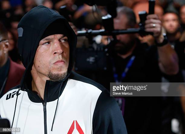 Nate Diaz walks to the Octagon before his welterweight rematch against Conor McGregor at the UFC 202 event at T-Mobile Arena on August 20, 2016 in...