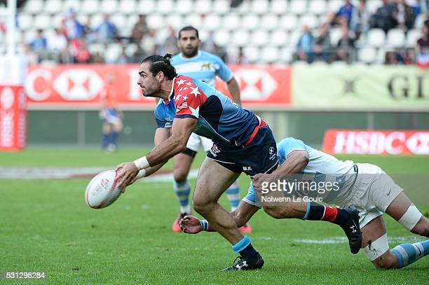 Nate Ebner of USA during the match between Argentina and USA during the HSBC PARIS SEVENS tournament at Stade Jean Bouin on May 13 2016 in Paris...