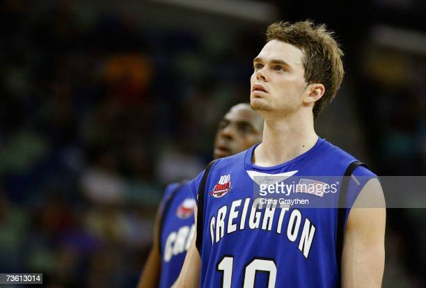 Nate Funk of the Creighton Bluejays walks down court during overtime against the Nevada Wolf Pack in round one of the NCAA Men's Basketball...
