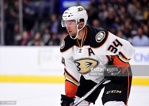 Nate Guenin of the Anaheim Ducks lines up for a faceoff during a preseason game against the Los Angeles Kings at Staples Center on September 28 2016...