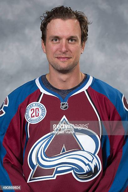 Nate Guenin of the Colorado Avalanche poses for his official headshot for the 20152016 NHL season on September 17 2015 at the Pepsi Center in Denver...