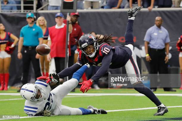 Nate Hairston of the Indianapolis Colts breaks up a pass in the endzone intended for DeAndre Hopkins of the Houston Texans in the fourth quarter at...