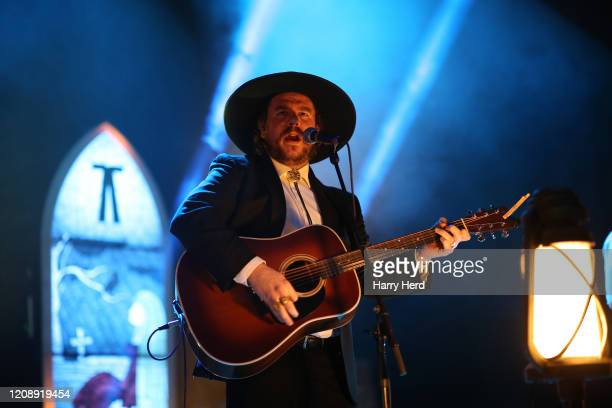 Nate Hilts of The Dead South performs at Portsmouth Guildhall on February 26, 2020 in Portsmouth, England.