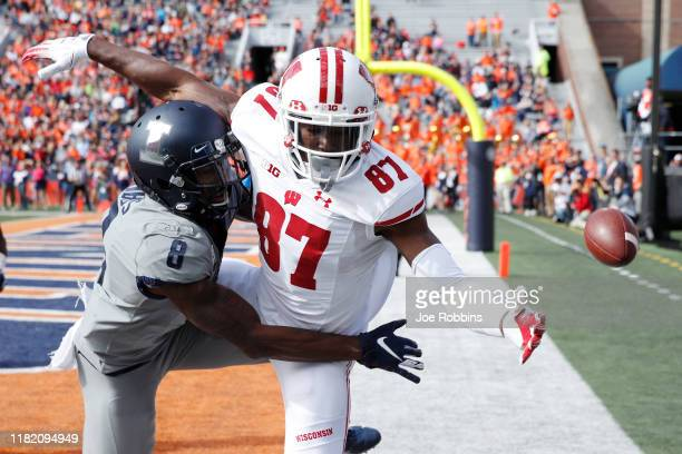 Nate Hobbs of the Illinois Fighting Illini breaks up a pass in the end zone against Quintez Cephus of the Wisconsin Badgers in the first half of the...