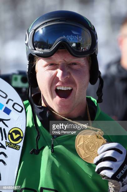 Nate Holland celebrates with his gold medal after winning men's Snowboarder X during Winter XGames 2014 Aspen at Buttermilk Mountain on January 24...