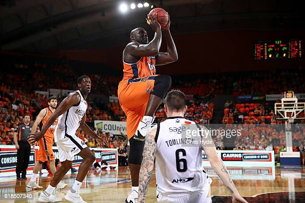 Nate Jawai of the Taipans shoots during the round four NBL match between the Cairns Taipans and Melbourne United at Cairns Convention Centre on...