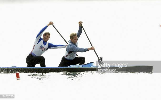 Nate Johnson and Jordan Malloch paddle to win the Men's C2 1000 meter final two man canoe during the US Olympic Flatwater Sprint Canoe/Kayak Team...
