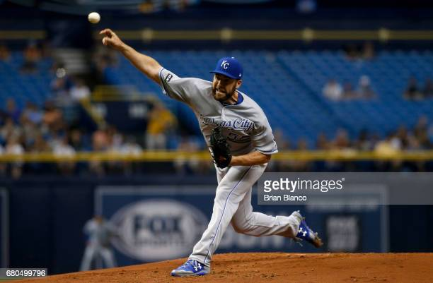 Nate Karns of the Kansas City Royals pitches during the first inning of a game against the Tampa Bay Rays on May 8 2017 at Tropicana Field in St...