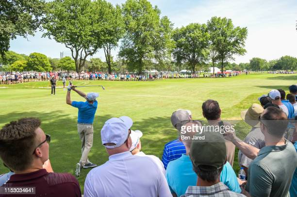 Nate Lashley hits a shot on the sixth fairway during the final round of the Rocket Mortgage Classic at Detroit Golf Club on June 30, 2019 in Detroit,...