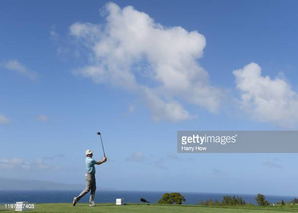 Nate Lashley of the United States plays his shot from the tenth tee during the final round of the Sentry Tournament Of Champions at the Kapalua...