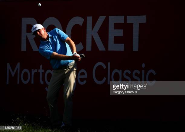 Nate Lashley plays his shot on the 17th hole during the final round of the Rocket Mortgage Classic at the Detroit Country Club on June 30 2019 in...