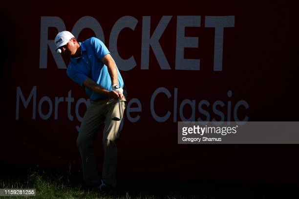 Nate Lashley plays his shot on the 17th hole during the final round of the Rocket Mortgage Classic at the Detroit Country Club on June 30, 2019 in...
