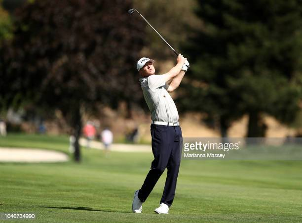 Nate Lashley plays his shot on the sixth hole during the third round of the Safeway Open at the North Course of the Silverado Resort and Spaon...