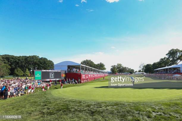 Nate Lashley puts on the 18th green during the final round of the inaugural PGA Rocket Mortgage Classic on June 30, 2019 at Detroit Golf Club in...