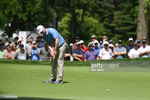 Nate Lashley putts on the fourth green during the final round of the Rocket Mortgage Classic at Detroit Golf Club on June 30, 2019 in Detroit,...