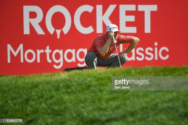 Nate Lashley reads the fifteenth green during the third round of the Rocket Mortgage Classic at Detroit Golf Club on June 29, 2019 in Detroit,...