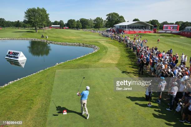 Nate Lashley swings on the sixteenth tee during the final round of the Rocket Mortgage Classic at Detroit Golf Club on June 30, 2019 in Detroit,...