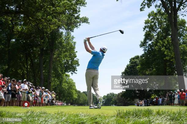 Nate Lashley tees off on the second tee box during the final round of the Rocket Mortgage Classic at Detroit Golf Club on June 30, 2019 in Detroit,...