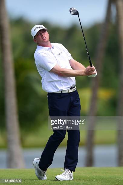 Nate Lashley watches his shot from the third tee during the third round of the Puerto Rico Open at Coco Beach Golf and Country Club on February 23...