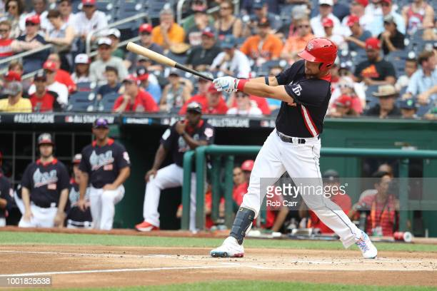 Nate Lowe at bat during the SiriusXM All-Star Futures Game at Nationals Park on July 15, 2018 in Washington, DC.