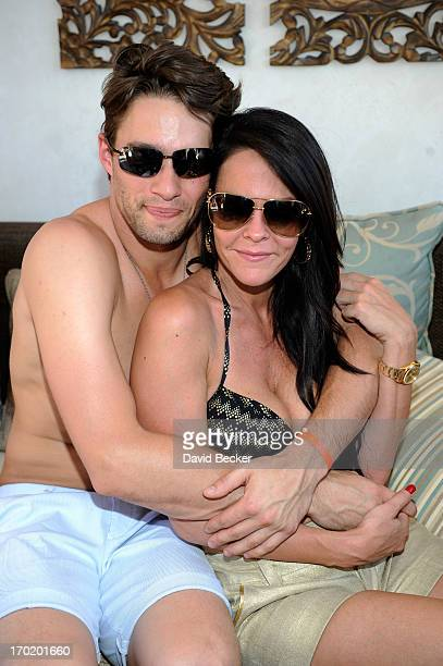 Nate Maaaske and Allison Melnick attend Melnick's birthday celebration at Daylight Beach Club at the Mandalay Bay Resort Casino on June 8 2013 in Las...