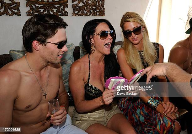 Nate Maaske Allison Melnick and Paris Hilton attend Melnick's birthday celebration at Daylight Beach Club at the Mandalay Bay Resort Casino on June 8...