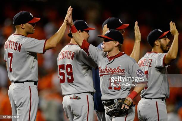 Nate McLouth of the Washington Nationals celebrates with his teammates after the Nationals defeated the Baltimore Orioles 62 during a game at Oriole...