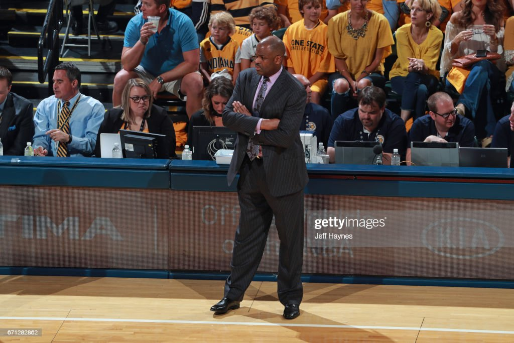 Nate McMillan of the Indiana Pacers looks on during the game against the Cleveland Cavaliers during Game Three of the Eastern Conference Quarterfinals of the 2017 NBA Playoffs on April 20, 2017 at Bankers Life Fieldhouse in Indianapolis, IN.