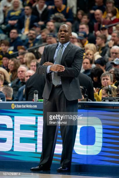 Nate McMillan of the Indiana Pacers reacts to a call in the first half of the game against the New York Knicks at Bankers Life Fieldhouse on December...